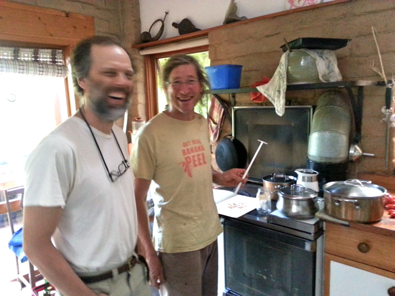 Dave Jacke and David Holmgren in the kitchen at Melliodora