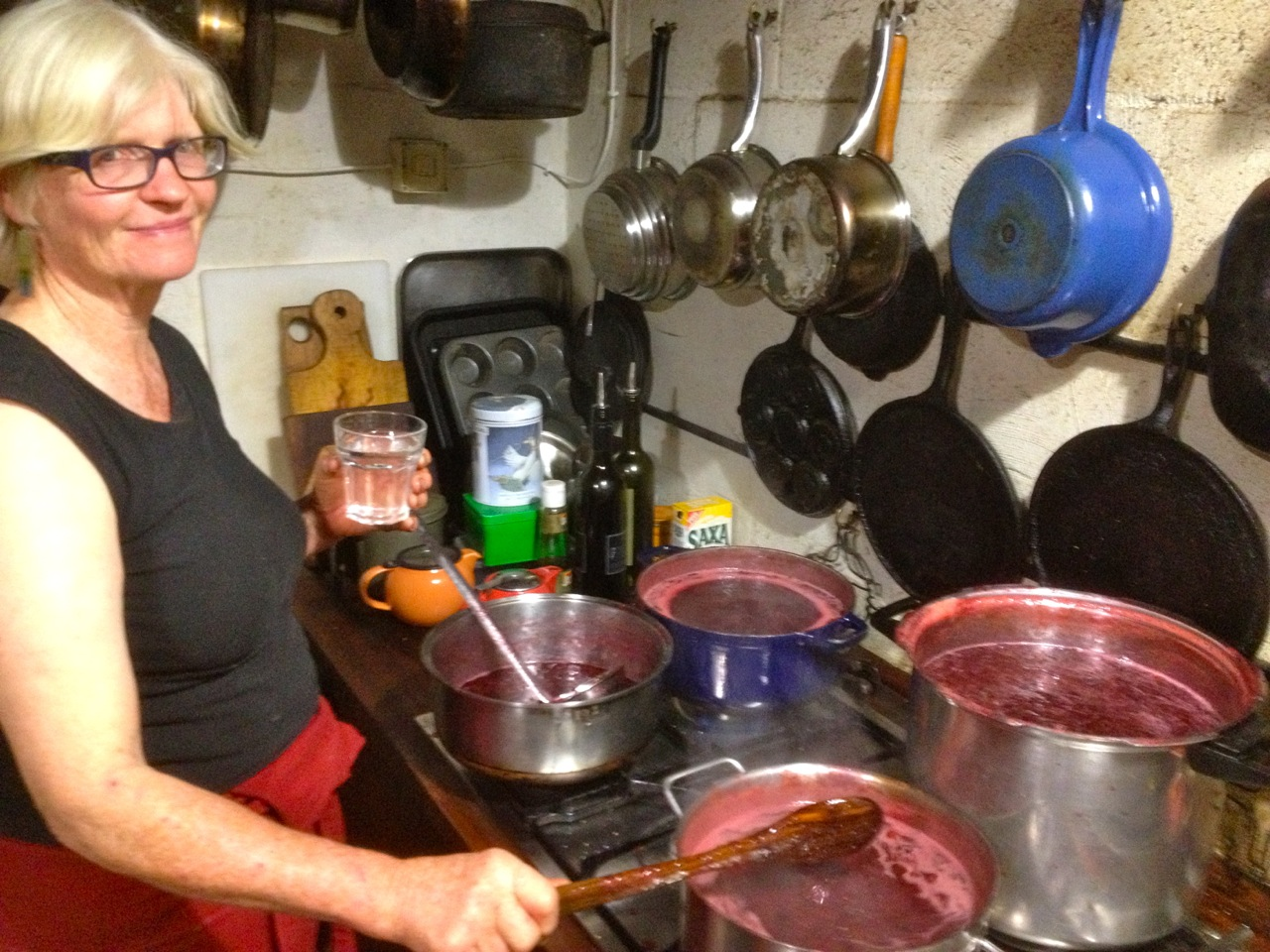 Joyce Wilkie stirring 40 liters of jam at midnight after teaching a class of future growers in the full sun for two days. What a woman.