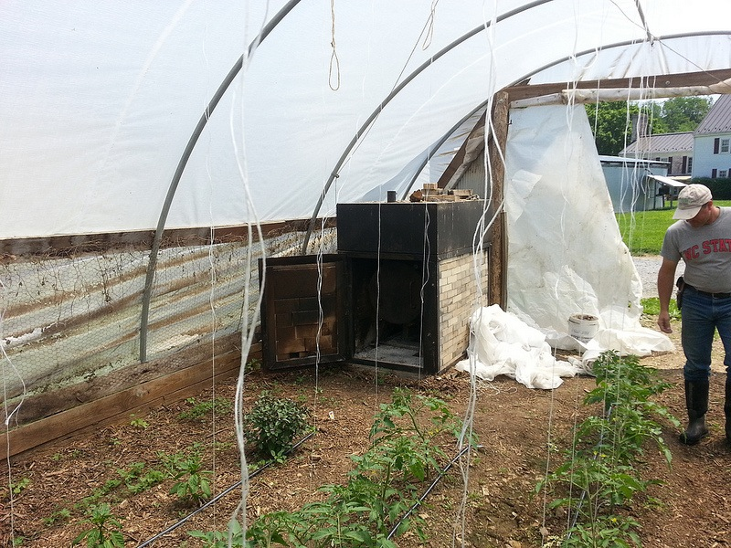 Dan and the tomato unit - after a winter of housing chickens on deep litter, this greenhouse soil is nutrient rich and ready to produce some serious tomatoes