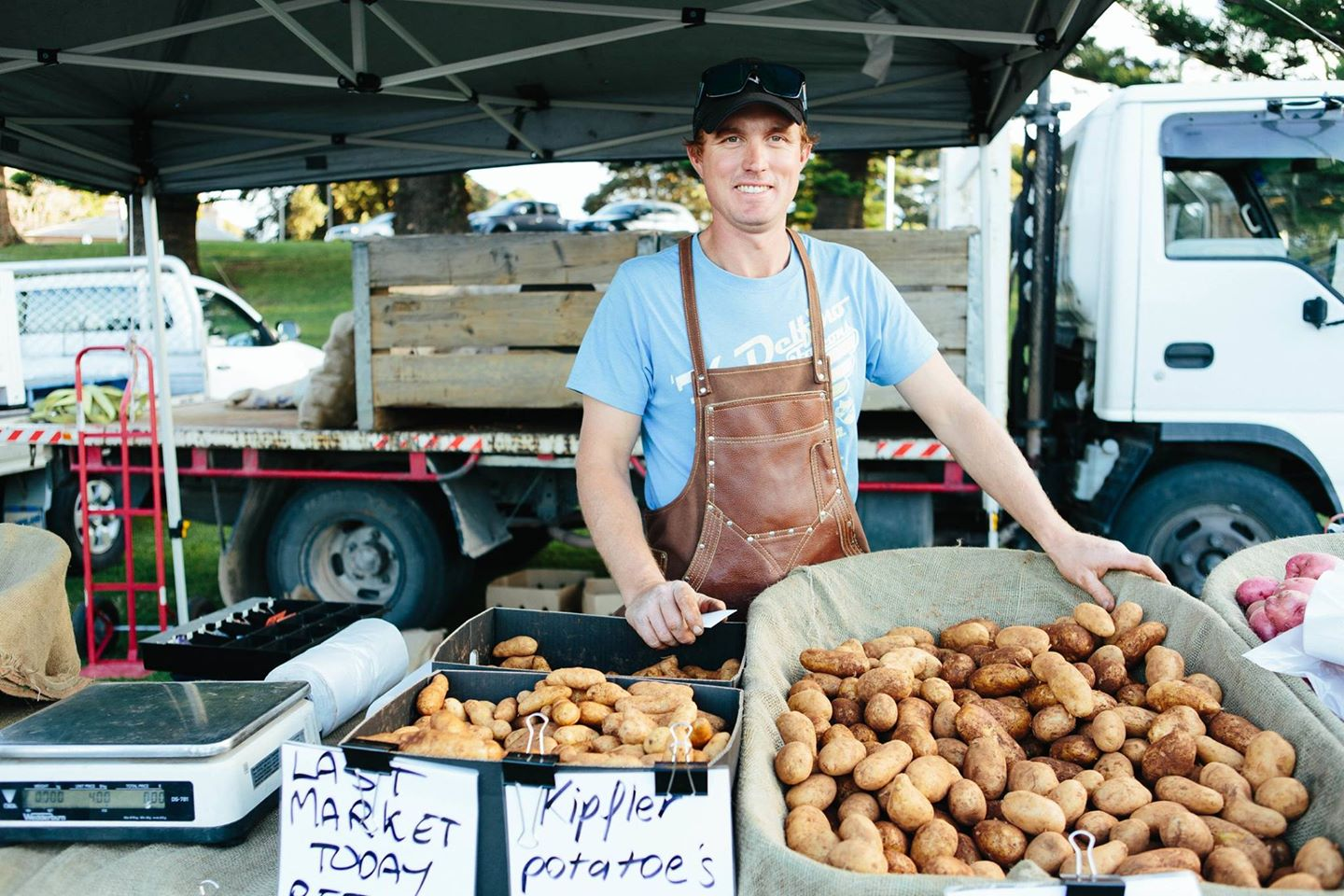 The farmer and his taters at Kiama - photo by Sebastian Photography