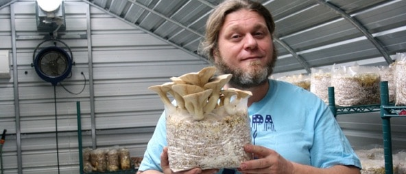 Visiting- Gabe's small-scale mushroom startup