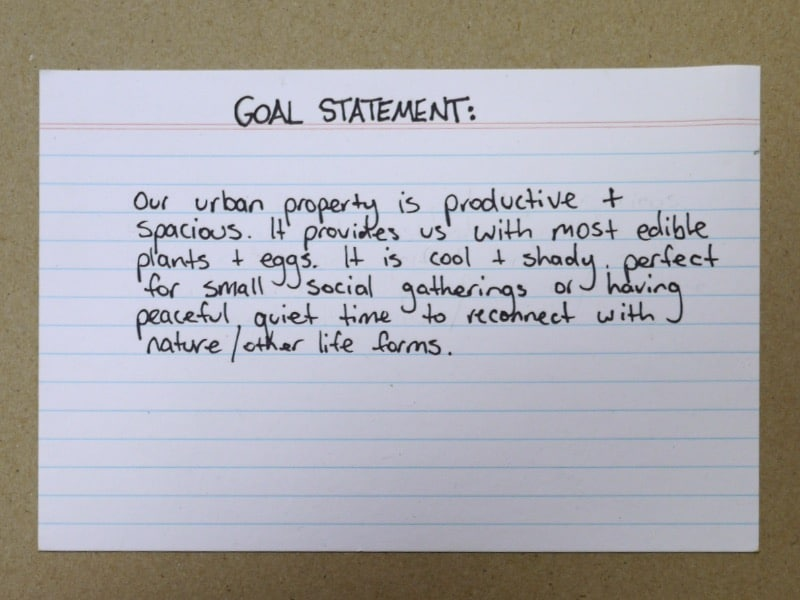Permaculture Design Process  Writing A Goal Statement